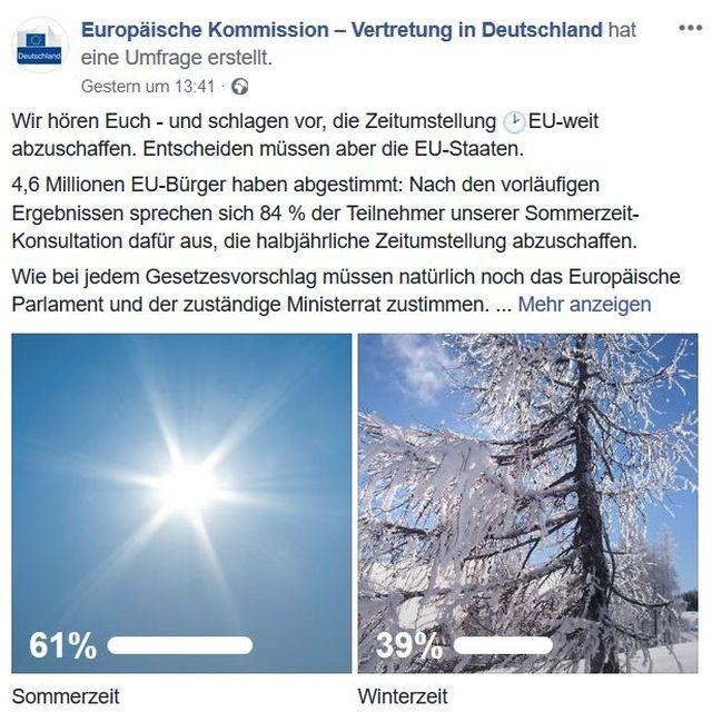 """Facebook-Post der EU-Kommission in Deutschland mit """"Wir hören Euch"""" und einem Sommer- bzw. Winterbild."""