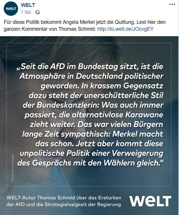 Textauszug aus der Zeitung Die Welt.