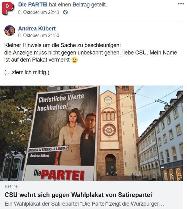 Facebook-Post der Satirepartei Die Partei: Frau mit abgeschlagenem Kopf von Markus Söder.