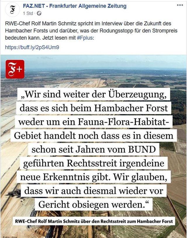 Der RWE-Chef erklärte gegenüber der FAZ, dass sich das Unternehmen im Recht sieht.