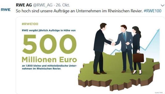 Tweet von RWE mit zwei Personen, die sich die Hnd schütteln und dem Hinweis, dass 1800 Unternehmen Aufträge über 500 Mio. EURO pro Jahr erhalten.
