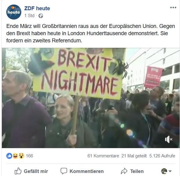 """Facebook-Post von ZDF heute mit einem Foto von der Massendemonstration gegen den Brexit in London. Im Mittelpunkt ein Transparent mit dem Titel """"Brexit Nightmare"""" - Brexit ein Alptraum."""