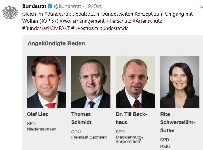 Tweet mit Hinweis auf die Bundesratsinitiative von Niedersachsen, Brandenburg und Sachsen gegen den Wolf.