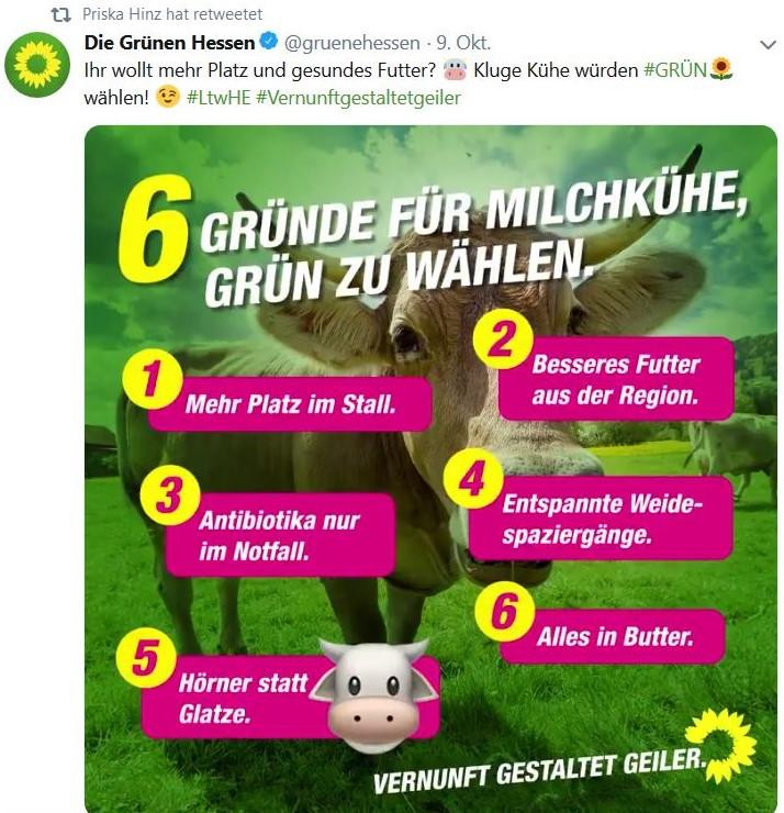 Facebook-Post der Grünen 'Sechs Gründe für Milchkühe, Grün zu wählen'.