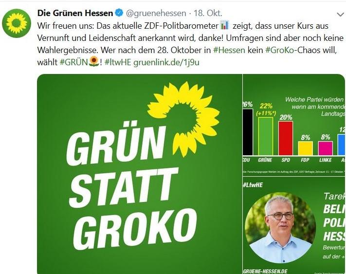 'Grün statt Groko', so ein Facebook-Post der Grünen mit Tarek Al-Wazir.