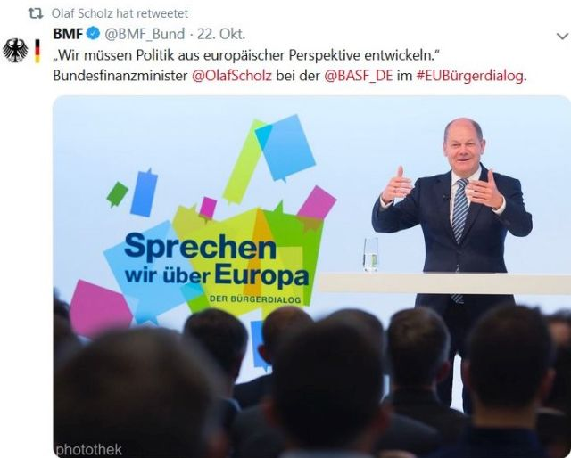 """""""Sprechen wir über Europa"""", so Olaf Scholz in einem Tweet."""