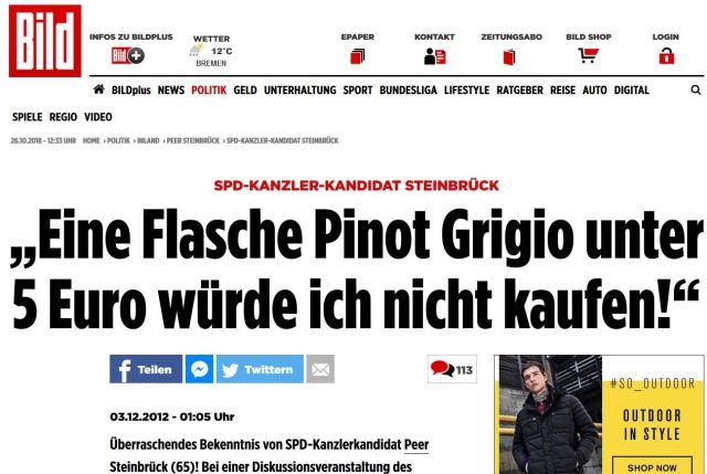 Peer Steinrück sagte eindeutig, dass er keine Flasche Wein unter 5 EURO kaufen würde.
