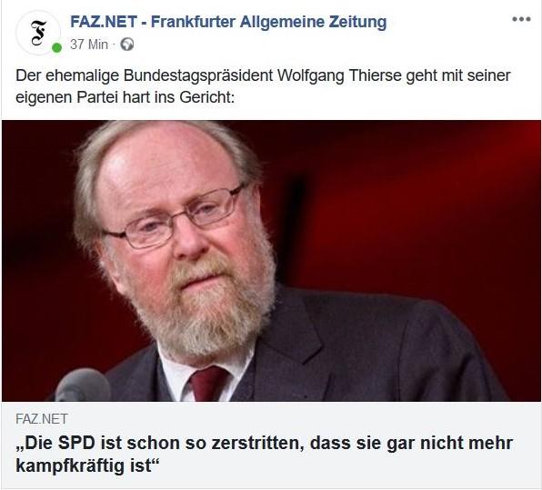 """Wolfgang Thierse im Bild mit der Aussage: """"Die SPD ist schon so zerstritten, dass sie nicht mehr kampffähig ist""""."""
