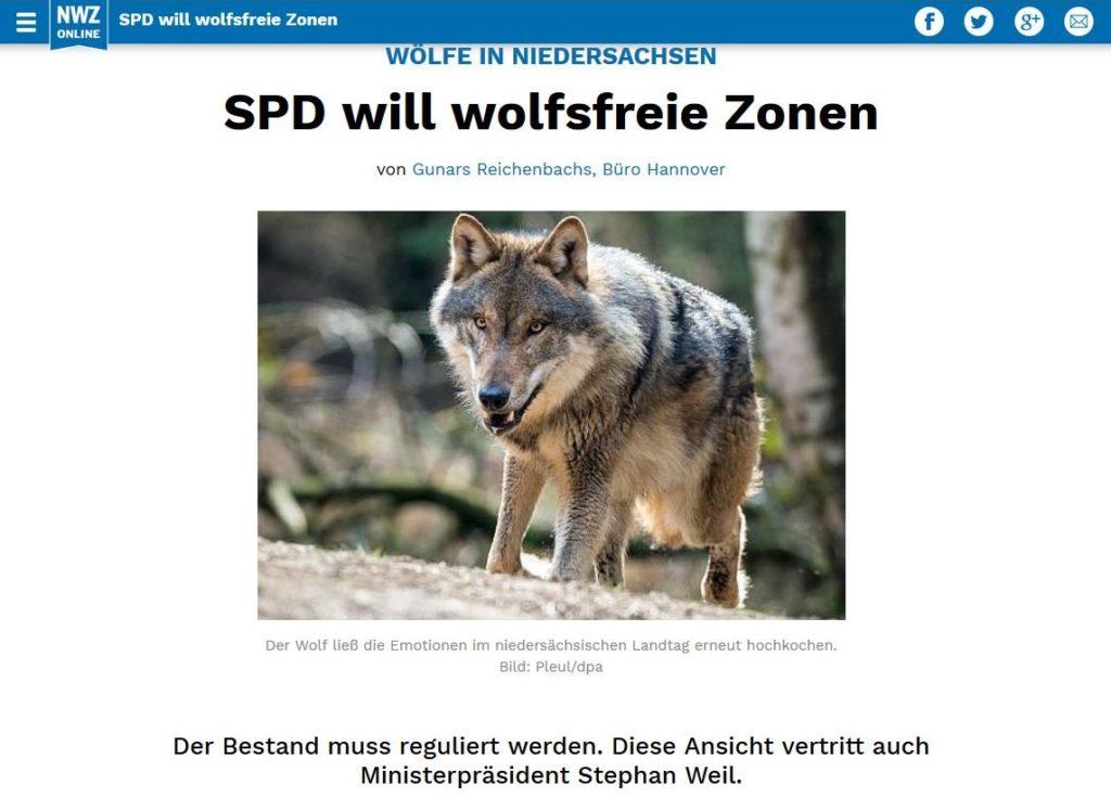 """Wolf in einem Zeitungsbeitrag mit der Überschrift """"SPD will wolfsfreie Zonen""""."""