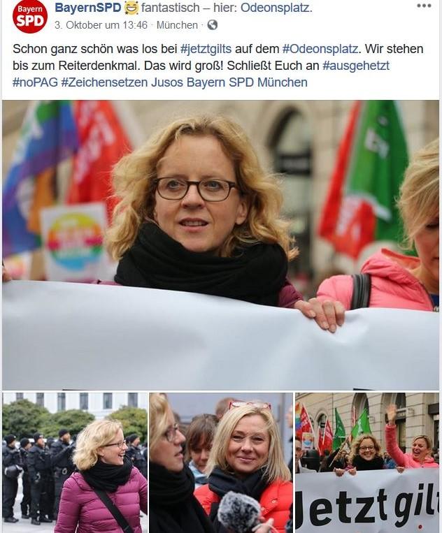 Natascha Kohnen von der SPD in einem Facebook-Post.