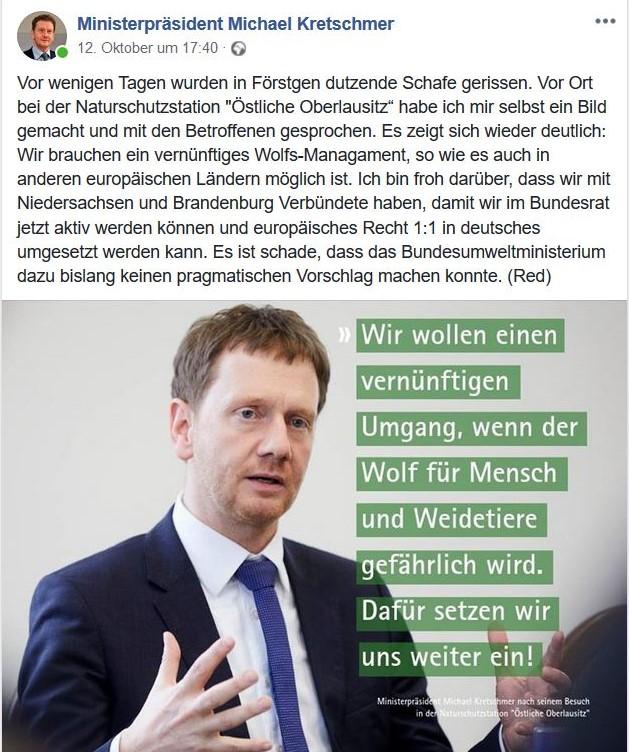 """Ministerpräsident Kretschmer min einem Facebook-Post mit Anzug und Krawatte. Mit der Aussage: """"Wir wollen einen vernünftigen Umgang, wenn der Wolf für Mensch und Weidetiere gefährlich wird."""""""