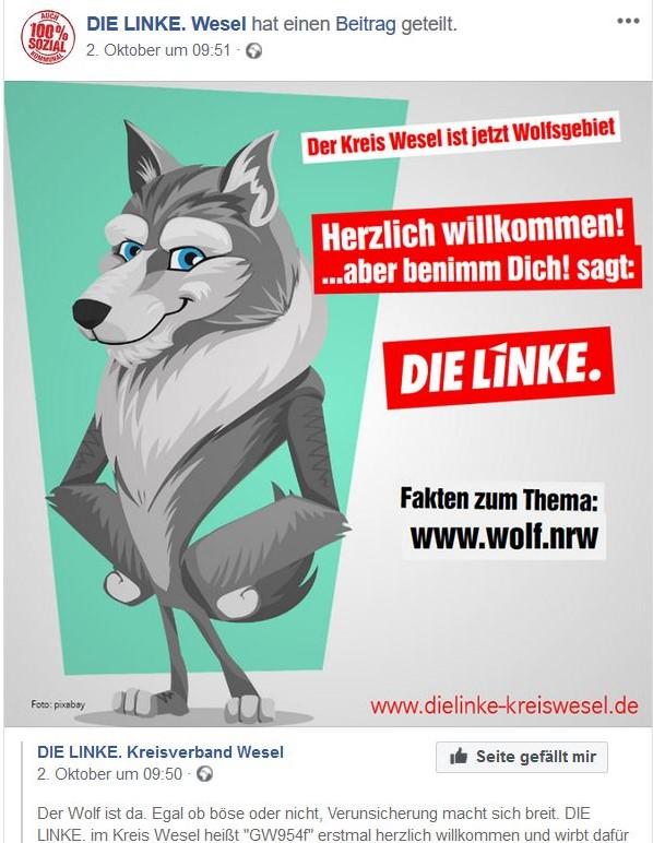 """Ein stilisierter Wolf in einem Facebook-Post der Linken. MIt dem Text """"Herzlich willkommen ...aber benimm dich gut!"""""""