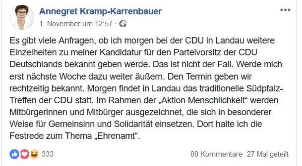 Erklärung von Annegret Kramp-Karrenbauer betont, sie werde sich erst nach einer Woche erklären, ob sie den CDU-Vorsitz anstrebe.