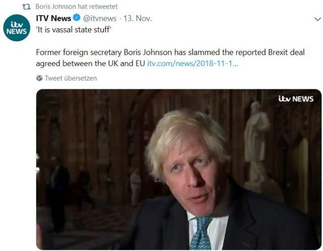 """Boris Johnson im Bild mit dem Text """"It is vassal state stuff""""."""