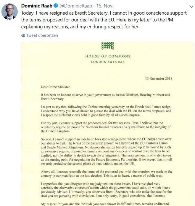 Brief von Dominic Raab mit seiner Rücktrittserklärung. Er bemängelt besonders den Sonderstatus für Nordirland.
