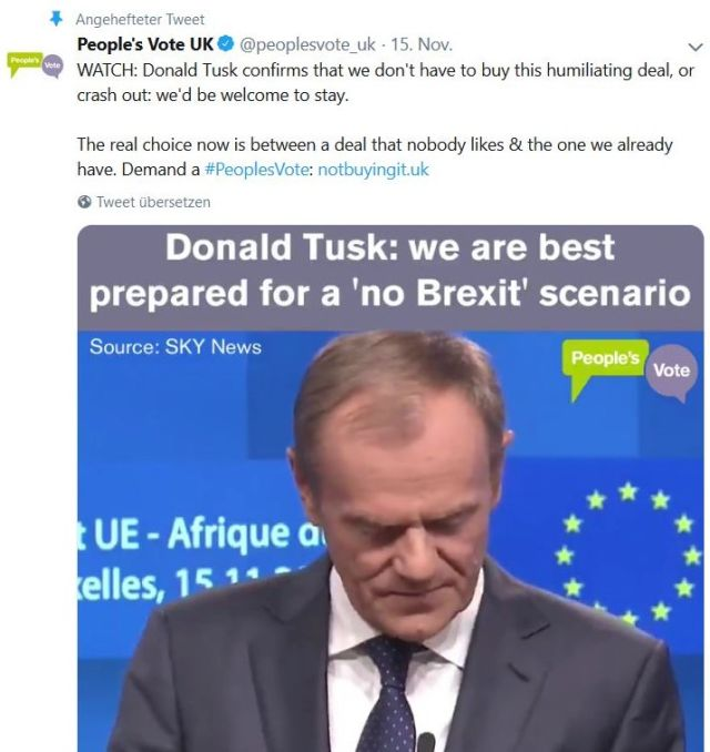 "Donald Tusk im Bild mit dem Text """"…we are best prepared for a 'no Brexit' scenario."""