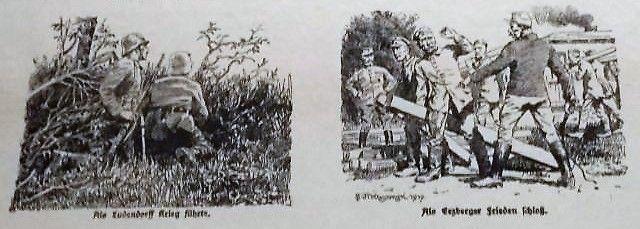 Auf der einen Seite des Propagandablatts bewaffnete deutsche Soldaten mit der Unterschrift 'Als Ludendorff Krieg führte', daneben versklavte Soldaten in Uniform und einem Wächter mit Peitsche. Untertitel: 'Als Erzberger FRieden schloß'.