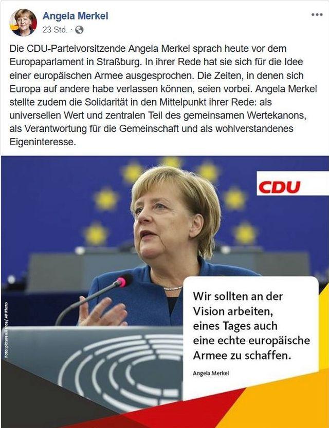 """Im Bild Angela Merkel mit der Aussage """"""""Wir sollten an der Vision arbeiten, eines Tages auch eine echte europäische Armee zu schaffen. """""""