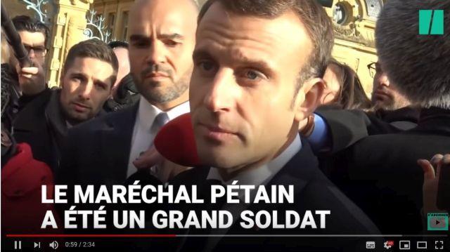 """Macron im Bild mit dem Text: """"Le Marechal Pétain a été un grand soldat""""."""