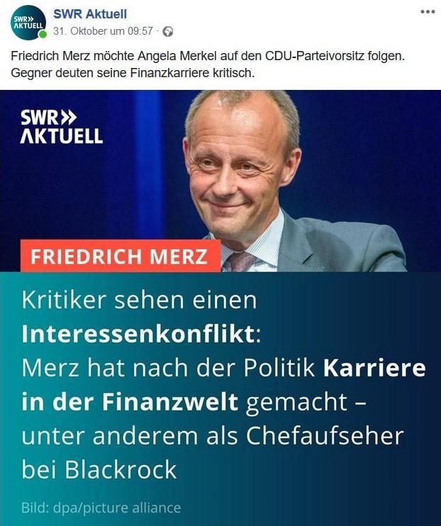 Friedrich Merz lächelnd in einem Facebook-Post von ZDF heute. Darin wird vermeldet, dass Kritiker auf die Tätigkeit von Merz für BlackRock hinweisen.
