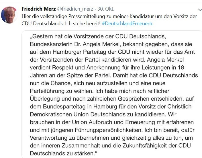 In seiinem Tweet erklärt Friedrich Merz seine Kandidatur zum CDU-Vorsitzenden mit dem Wunsch nach Aufbruch und Erneuerung.