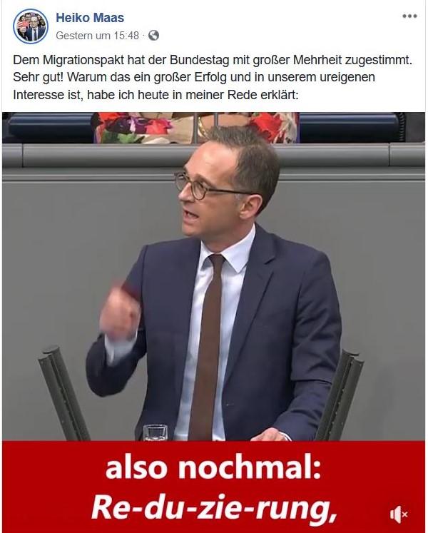 """Heiko Maas am Rednerpult im Bundestag mit dem Text """"also nochmal: Re - du -zie rung"""""""