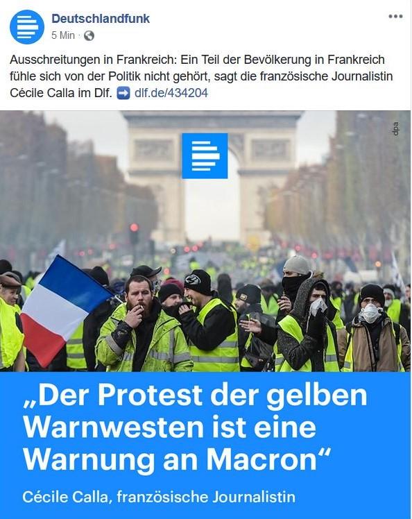 Bericht aus dem Deutschlandfunk mit Franzosen in gelben Westen und dem Zitat 'Der Protest der gelben Warnwesten ist eine Warnung an Macron'.
