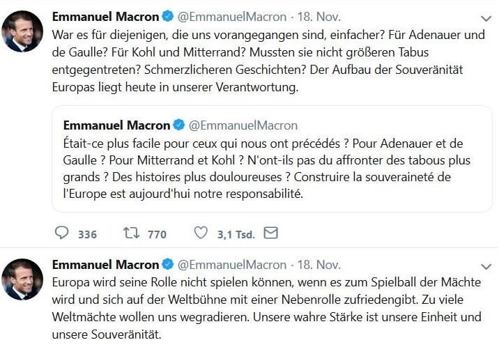 Zwei Tweets von Macron zum Thema Europa. Er nennt De Gaulle, Adenauer, Mitterand und Kohl, doch er verstrickt sich in Visionen statt konkrete Verbesserungen in Europa zu erarbeiten.