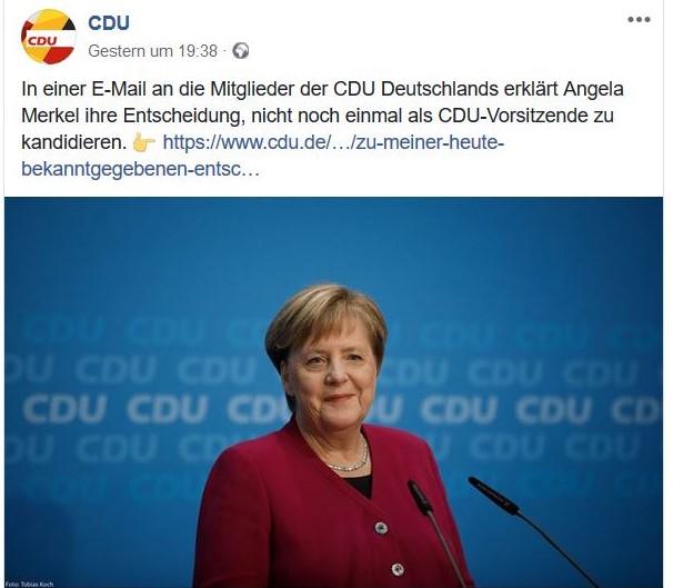 Angela Merkel im Bild mit ihrer Erklärung, sie trete nicht mehr als CDU-Vorsitzende an.