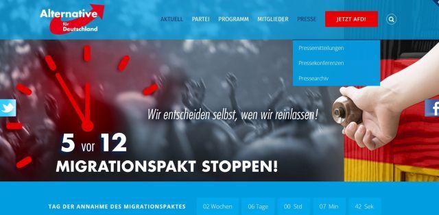 Auf der in blauen Farben gehaltenen Internetseite fordert die AfD dazu auf, den Migrationspakt zu stoppen.