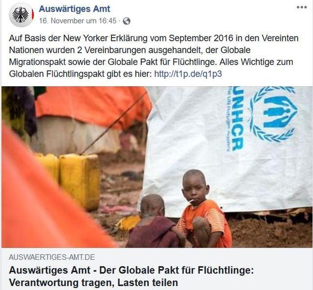 """""""Verantwortung tragen, Lasten teilen"""", so der Titel eines Facebook-Posts mit Kindern vor einem weißen Zelt."""