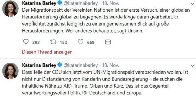 """Zwei Tweets von Ministerin Barley. Text: """"Dass Teile der CDU sich jetzt vom UN-Migrationspakt verabschieden wollen, ist nicht nur Distanzierung von Kanzlerin und Bundesregierung – sie suchen die inhaltliche Nähe zu AfD, Trump, Orban und Kurz. Das ist das Gegenteil verantwortungsvoller Politik für Deutschland und Europa."""""""