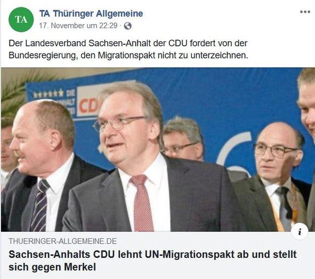 Mitglieder des CDU-Landesvorstands im Bild mit der Ablehnung des Migrationspakts im Text.