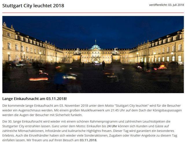 Bild und Text aus der Internetseite von 'stuttgart-city.de' Aufnahme des Neuen Schlosses bei Nacht.