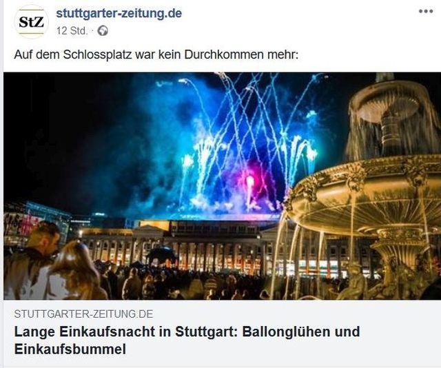 Facebook-Post der Stuttgarter Zeitung mit einem Foto eines Feuerwerks in der Stuttgarter Innenstadt. Bunte Explosionen.