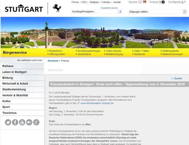 Internet-Seite der Stadt Stuttgart mit dem Hinweis auf den Feinstaubalarm. Oben eine Collage mit historischen Gebäuden.
