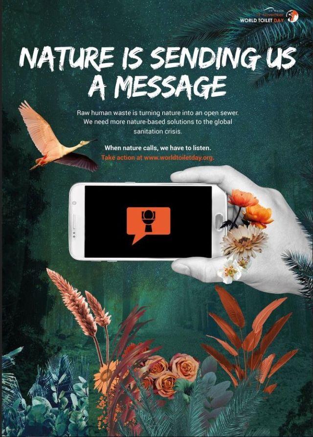 """""""Nature is sending a message"""", so die Überschrift einer Veröffentlichung der Vereinten Nationen. In dieser Veröffentlichung wird auf die Bedeutung suicherer Toiletten für Mensch und Natur hingewiesen."""