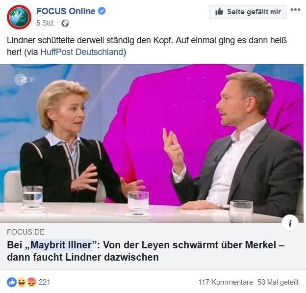 Christian Lindner und Ursula von der Leyen im Bild bei Maybrit Illner.