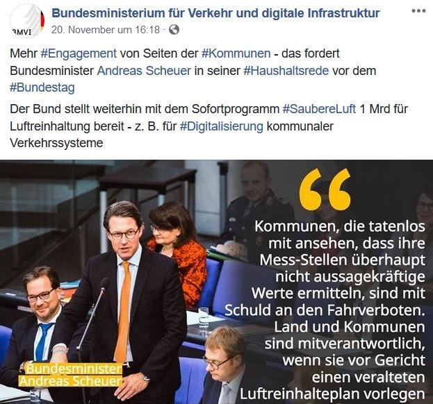 CSU-Minister Scheuer am Rednerpult. Er fordert aktuelle Luftreinhaltepläne und die Überprüfung der Standorte für Messstellen.