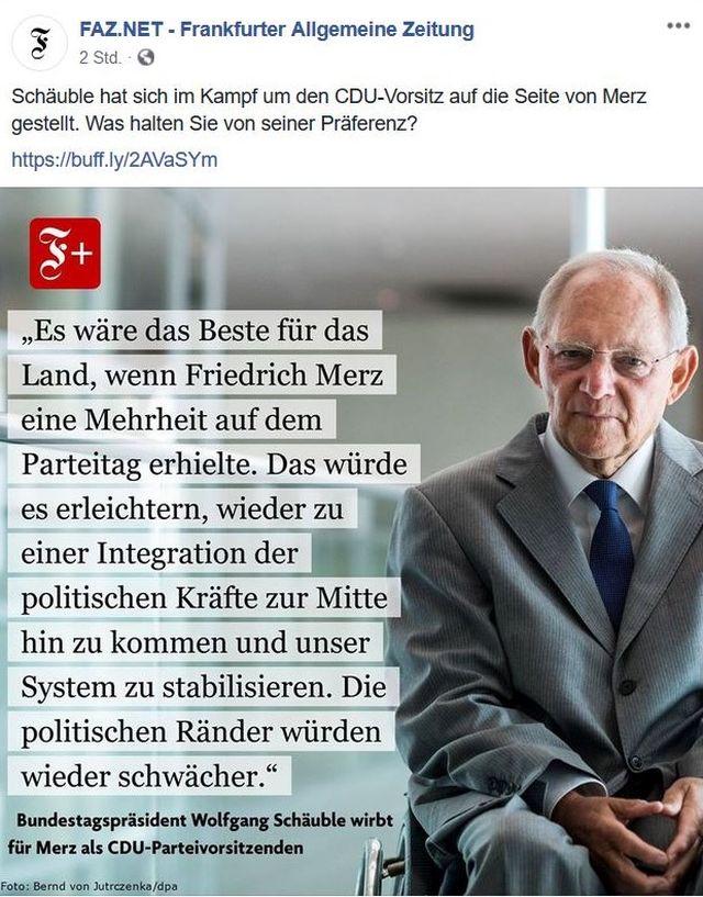 Wolfgang Schäuble in einem Facebook-Post, in dem er Merz unterstützt.