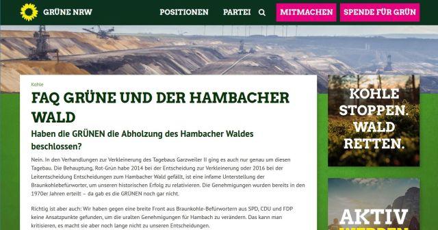 Internet-Seite der Grünen in Nordrhein-Westfalen. Die Grünen sagen, sie könnten nichts für das Abholzen des Hambacher Forsts, da sie bei der Genehmigung in den 1970er Jahren noch nicht existierten.