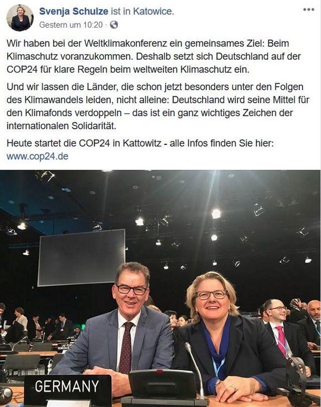 Svenja Schulze und Gerd Müller in einem Facebook-Post. Schule betont, dass es beim Klimaschutz Fortschritte geben müsse.