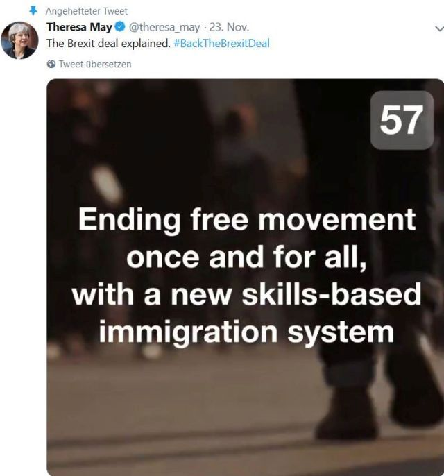 "May in einem Tweet: ""Ending free movement once and for all, with a new skills-basede immigration system""."