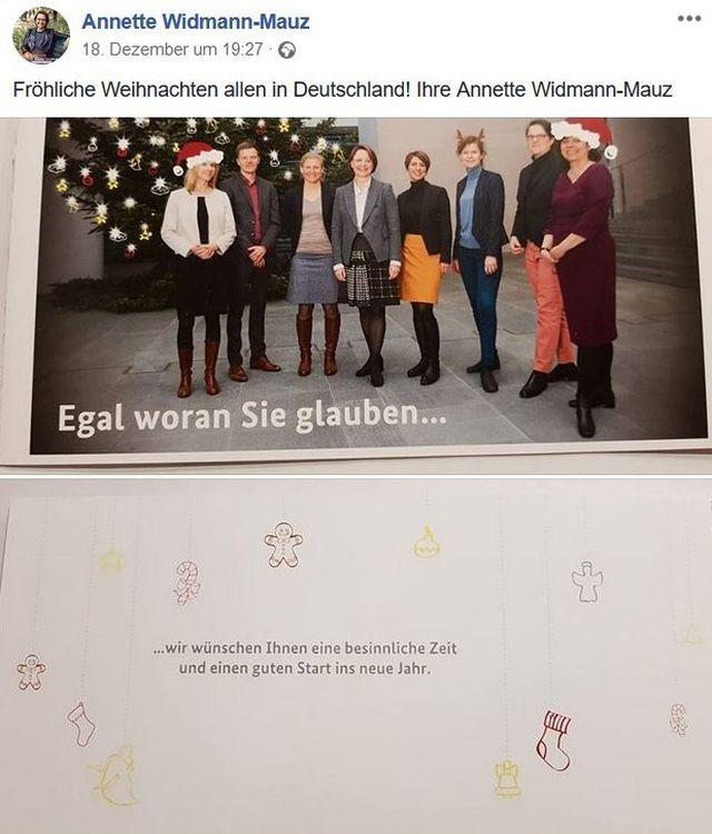 Staatssekretärin Widmann-Mauz umgeben von Mitarbeiterinnen. Zwei mit rot-weißer Weihnachtsmann-Mütze auf dem Kopf, eine Dame mit Rentiergeweih.