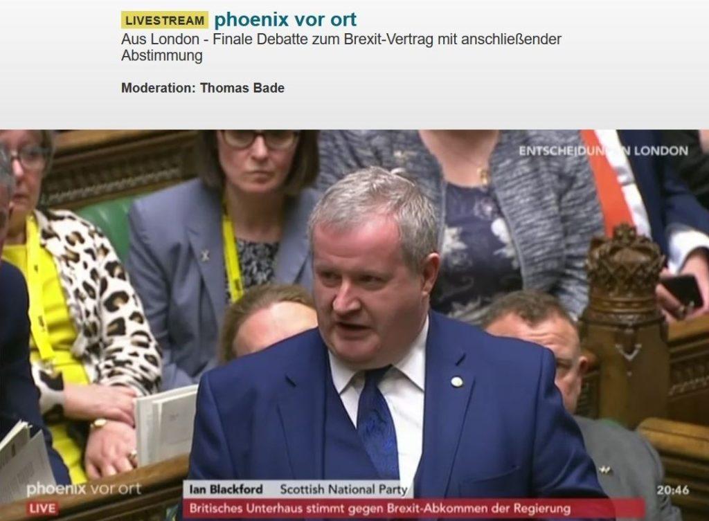Ian Blackford im dunkelblauen Anzug mit Krawatte im britischen Unterhaus.