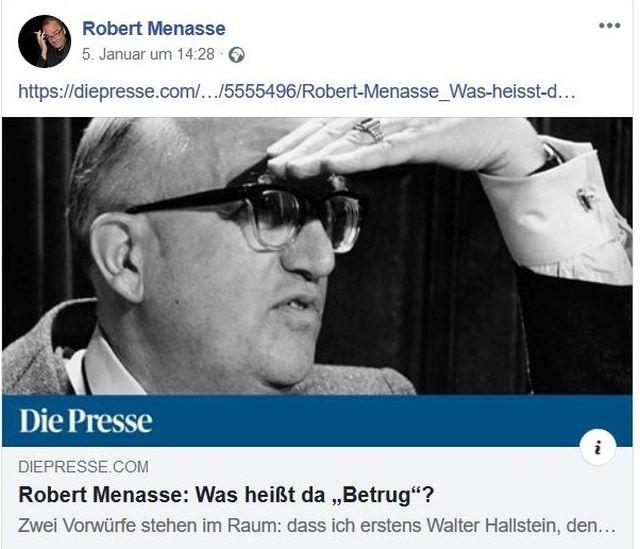 Robert Menasse mit Brille und eine Hand über den Augen als schaue er in die Ferne.