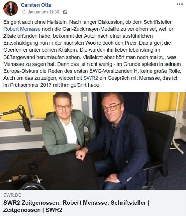 Robert Menasse im Bild mit dem SWR-Redakteur Carsten Otte.