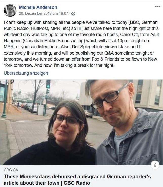 Im Bild Michele Anderson und ein Mitstreiter. Im Text berichtet sie über zahlreiche Medientermine an diesem Tag.