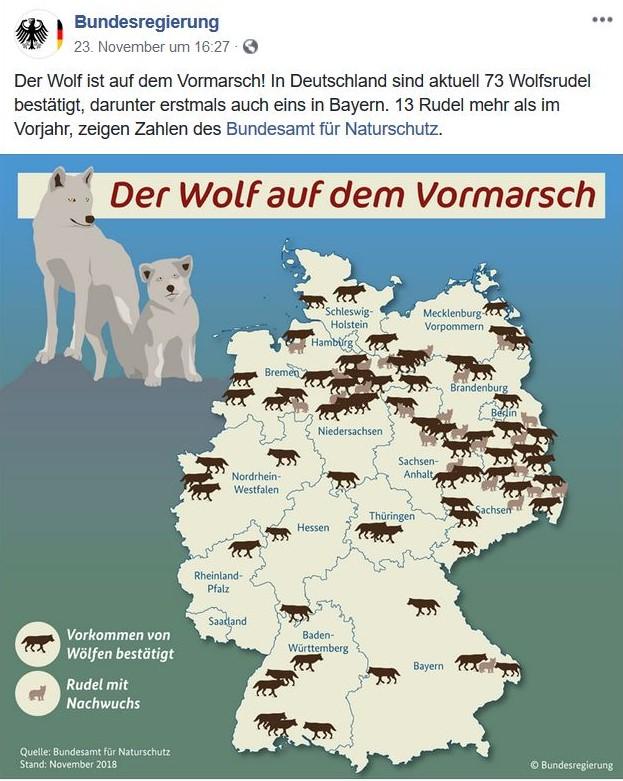 Deutschland-Karte mit Wolfssymbolen für Rudel, Paare und sesshafte Einzelwölfe.