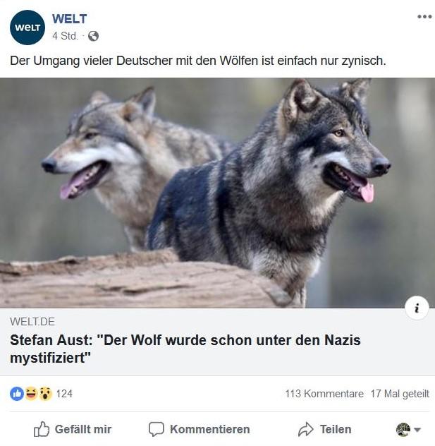 Facebook-Post mit einem Wolf und dem Text - Stefan Aust: Der Wolf wurde schon unter den Nazis mystifiziert.st